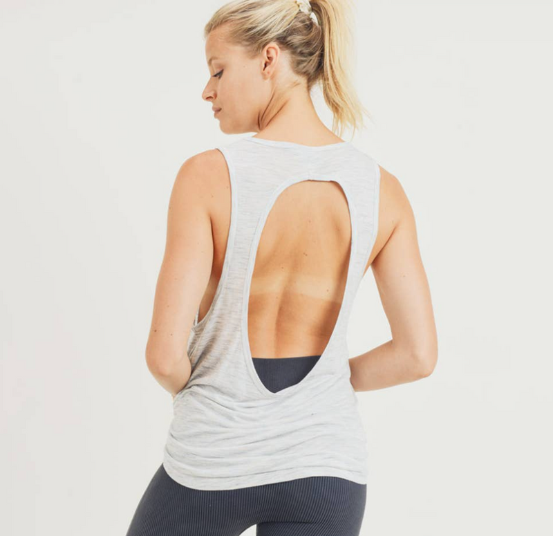Melange Muscle Tank with Oval Cut-Out Back