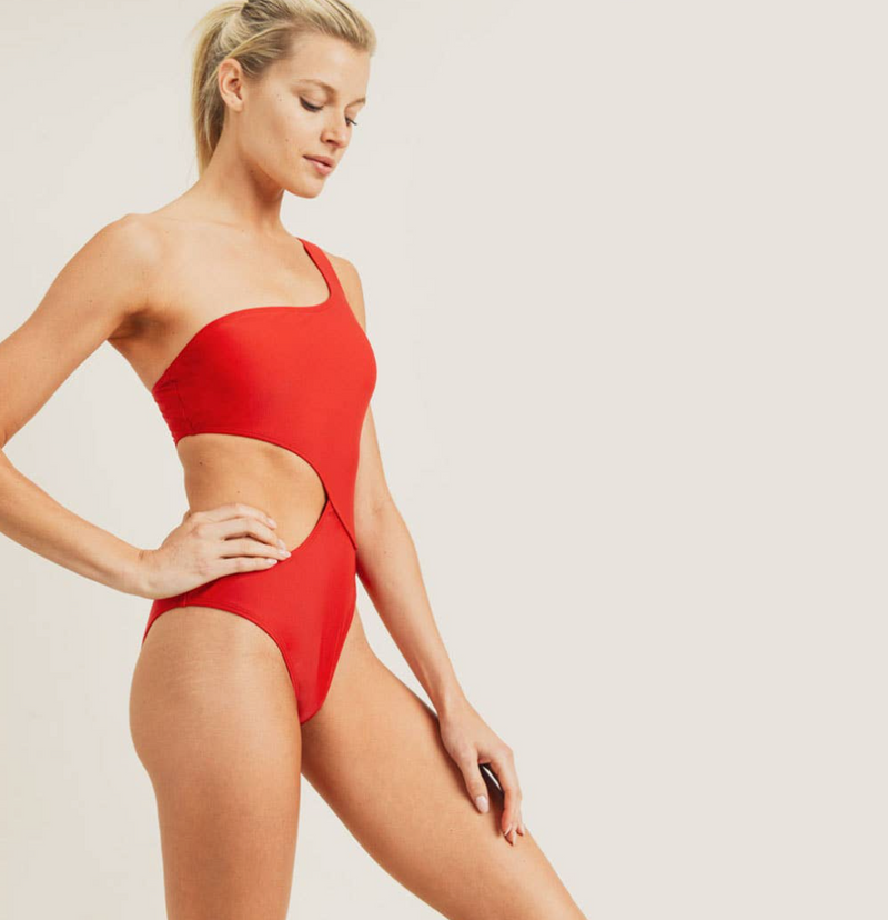 Swoop Cutout One-Shoulder Swimsuit -Red