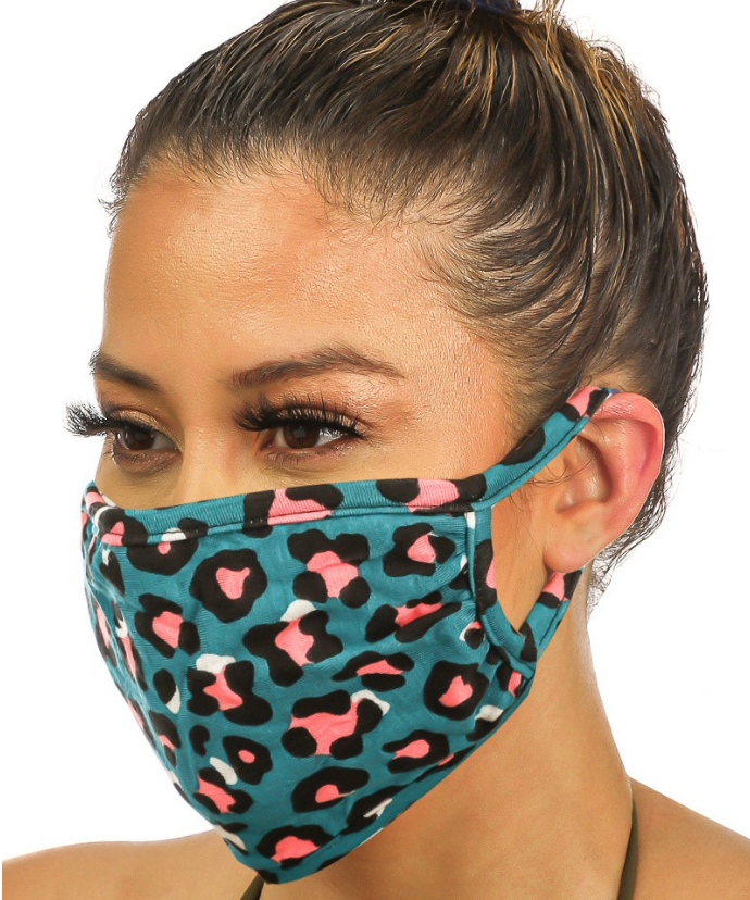 Double Layered Leopard Print Face Mask -Teal