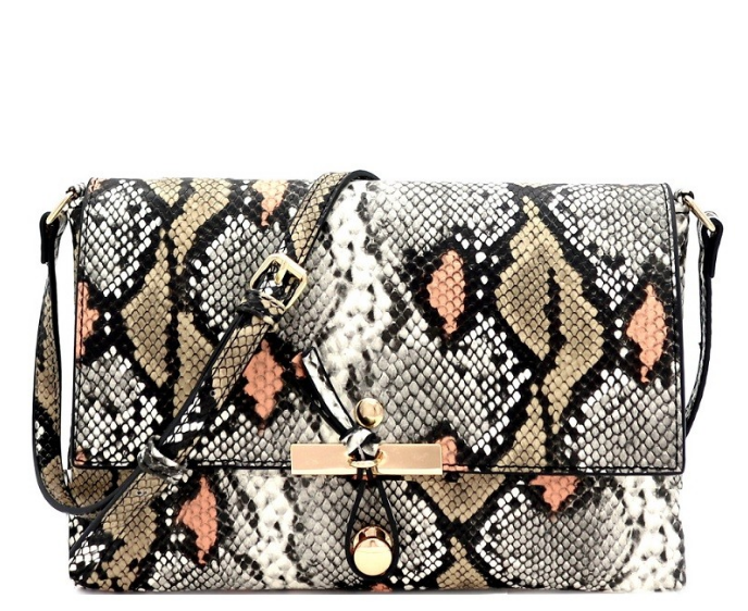 Snake Print Embossed Knot Clutch