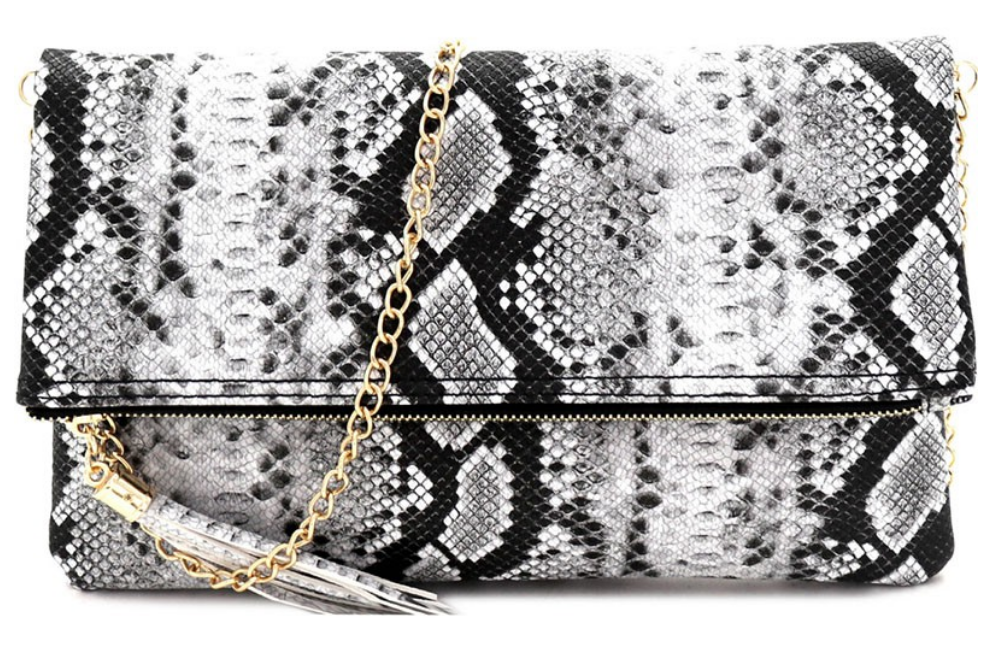 Multi-Color Snake Print Tassel Accent Clutch