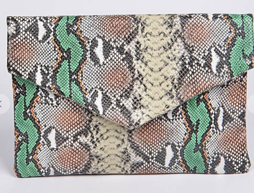 Multicolor Melt Snakeskin Clutch