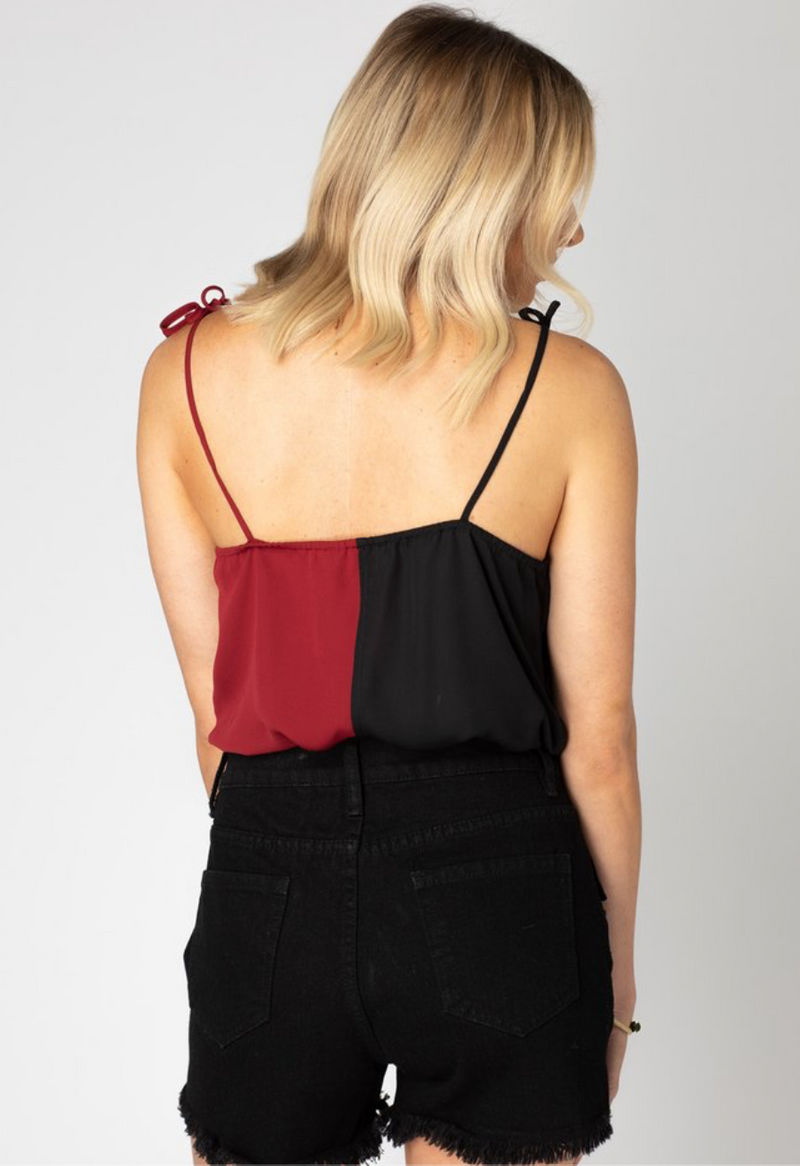 Crystal Tie Shoulder Surplice Bodysuit -Black/Burgundy