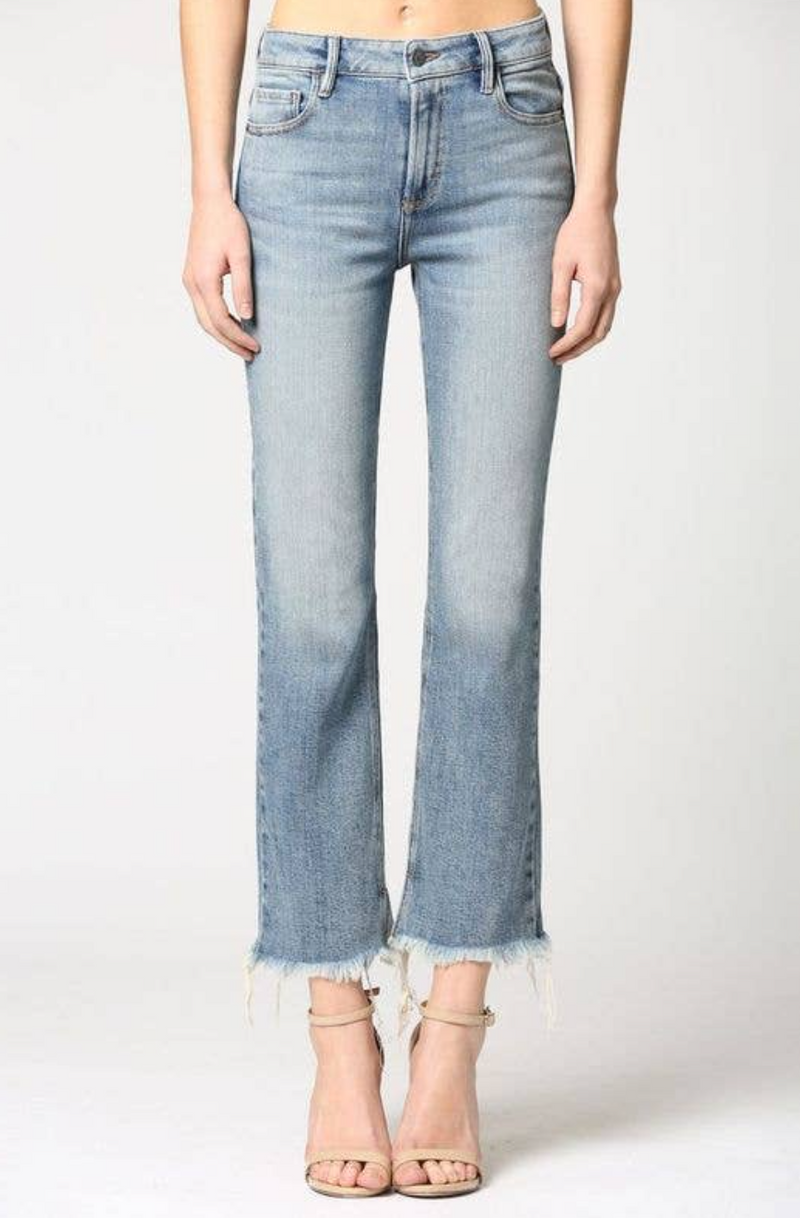 Medium Wash Classic Stretch Frayed Hem Crop Flare Jean