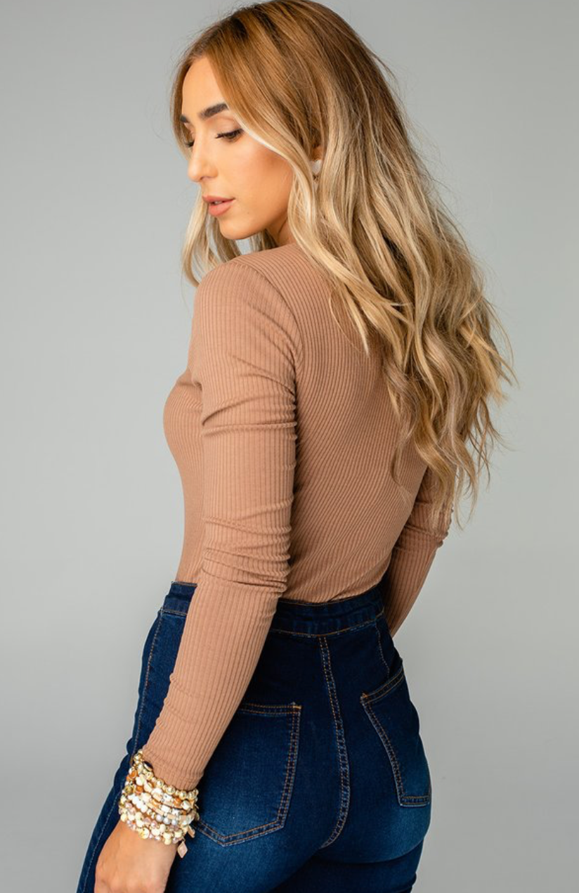 Alexa Button Front Ribbed Bodysuit -Mocha