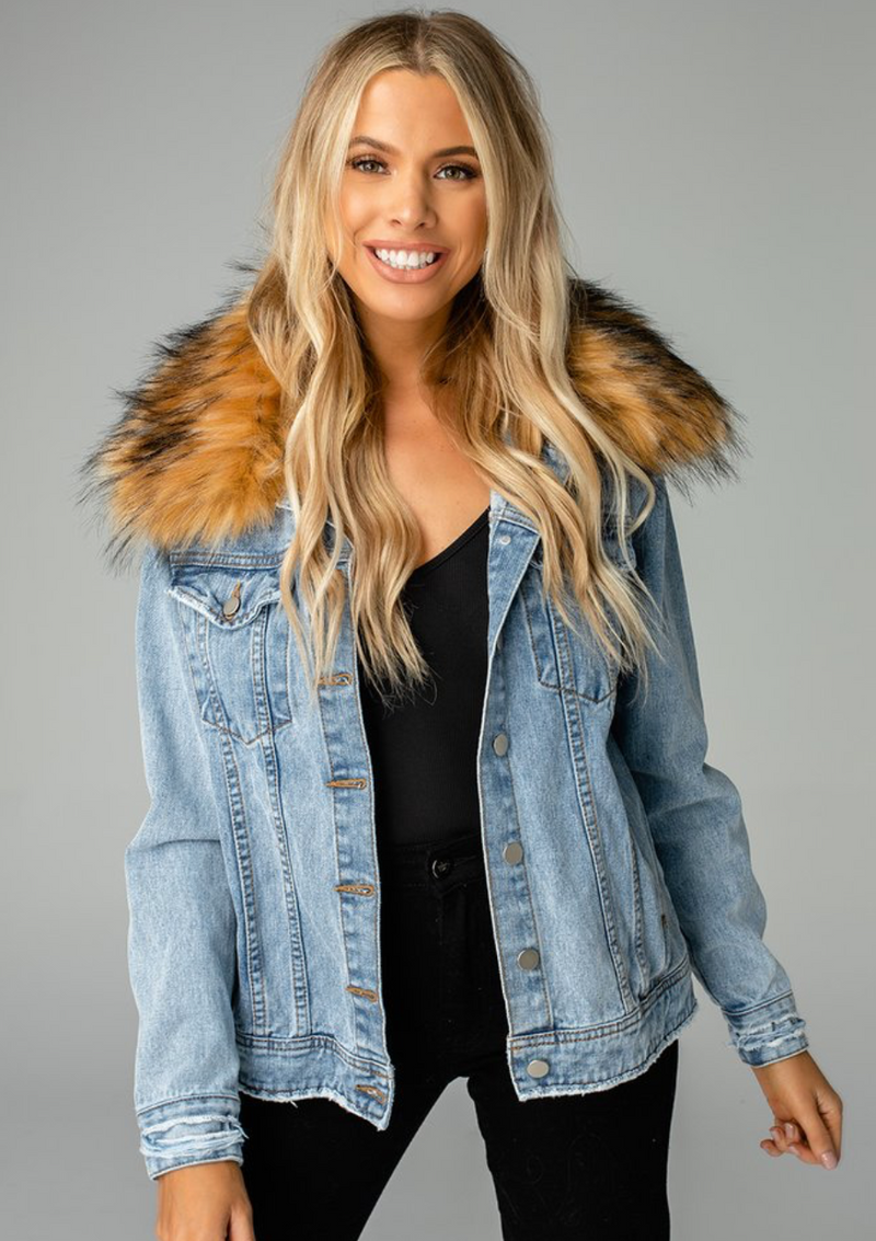 Hazel Fur Collared Denim Jacket