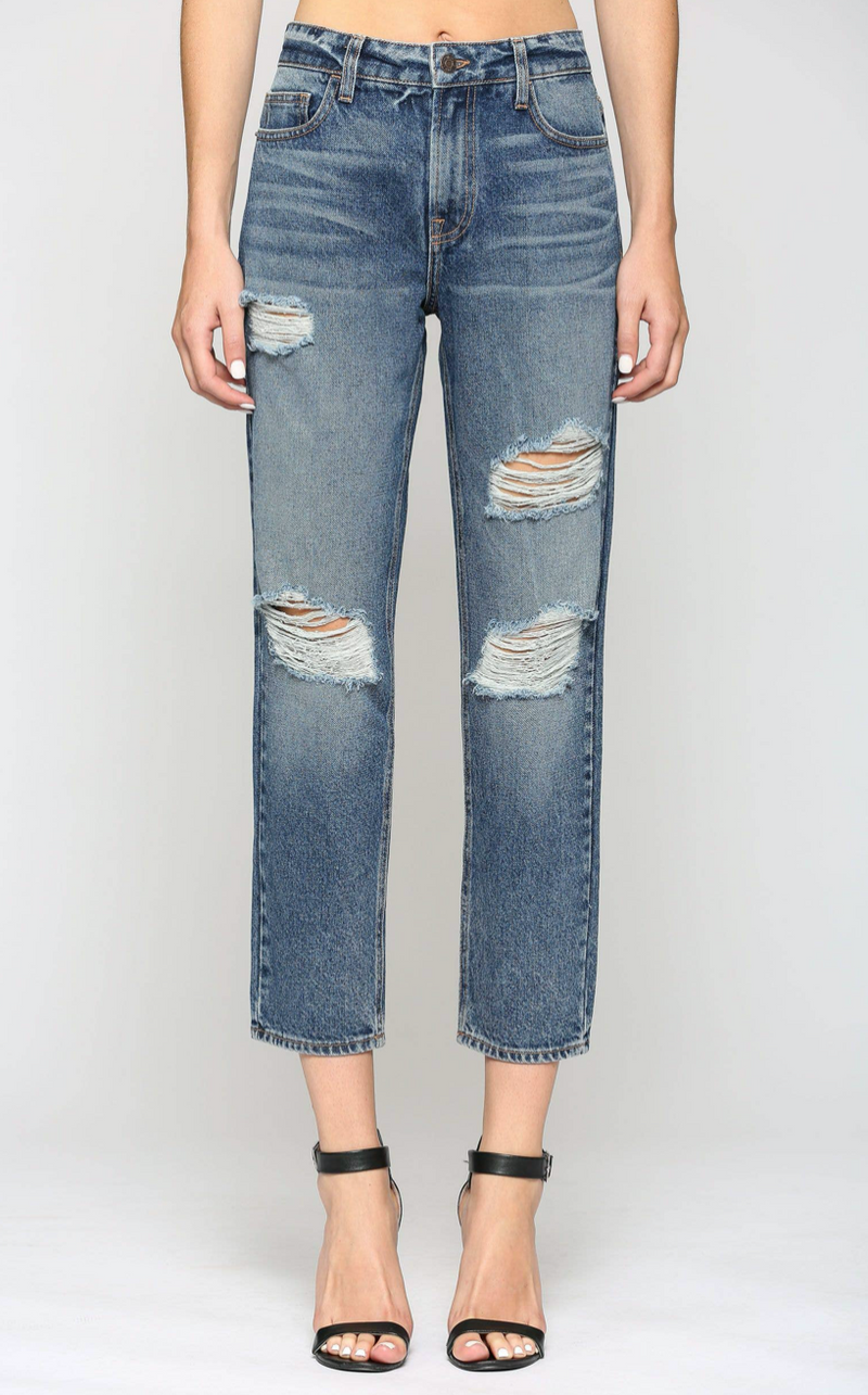 Dark Wash Vintage Distressed Boyfriend Jean