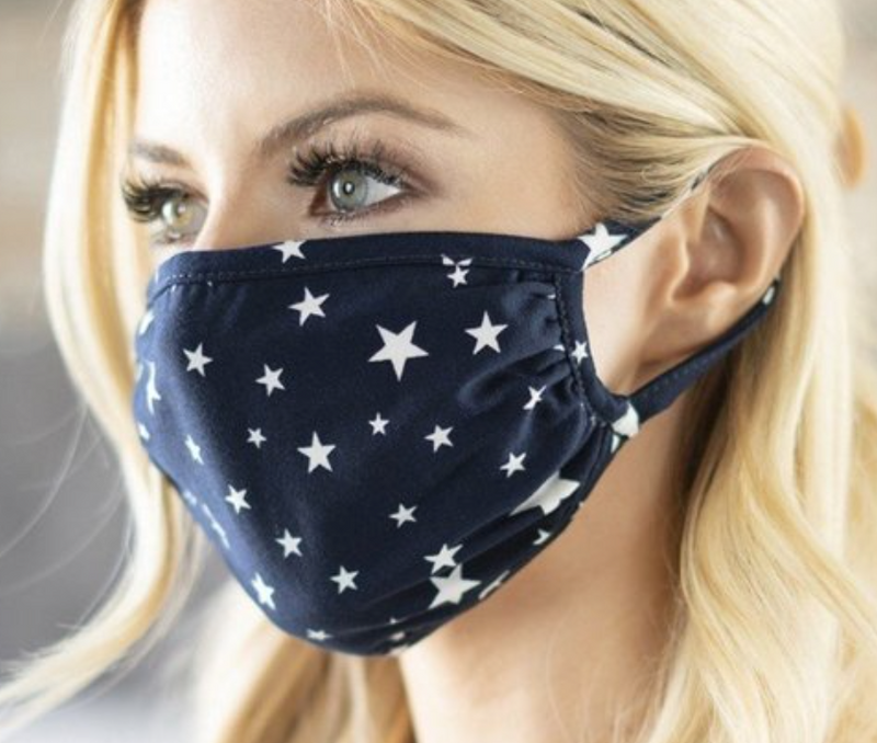 Navy-White Star Face Mask