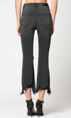 Black Exposed Button Frayed Hem Cropped Flare Jean