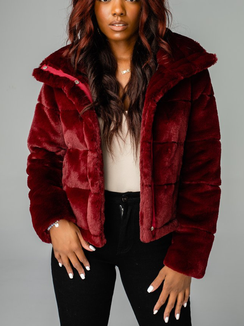 Charlie Puffy Fur Jacket -Wine