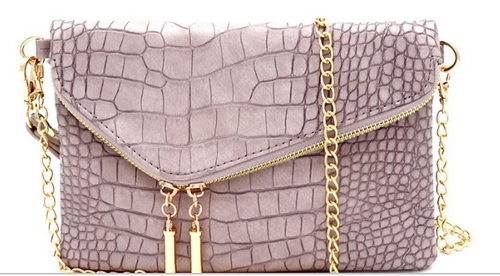 Crocodile Print Asymmetrical Flap Clutch