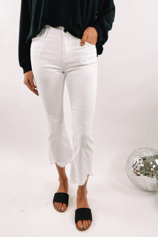 High Waisted White Cropped Flare