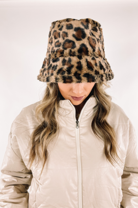 Fur Leopard Bucket Hat