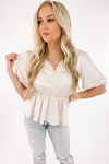 Madison Peplum Top -Ecru
