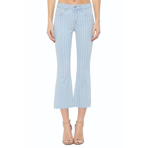 Striped Mid Rise Crop Flare Jean