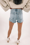 High Rise Frayed Short -Medium Denim