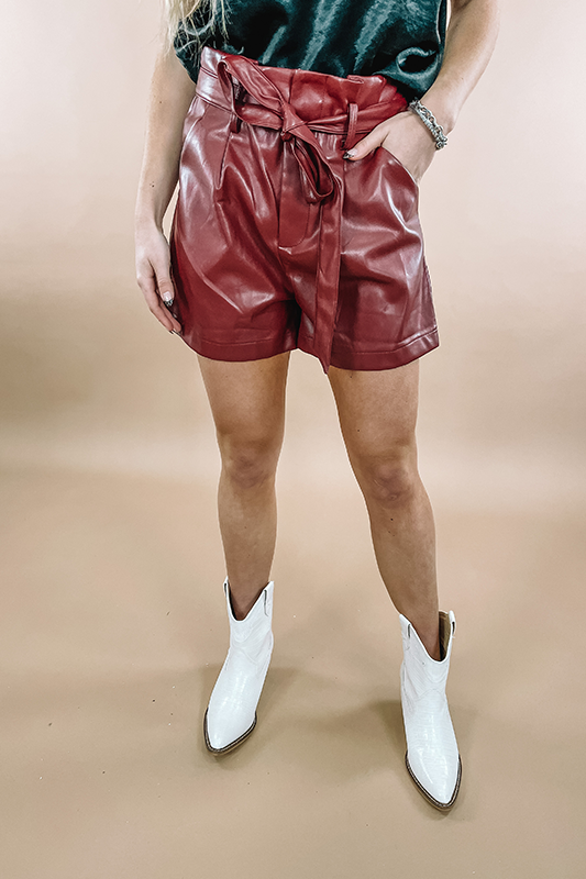 Haven Red Leather Shorts