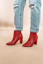 Red Lizard Snake Booties