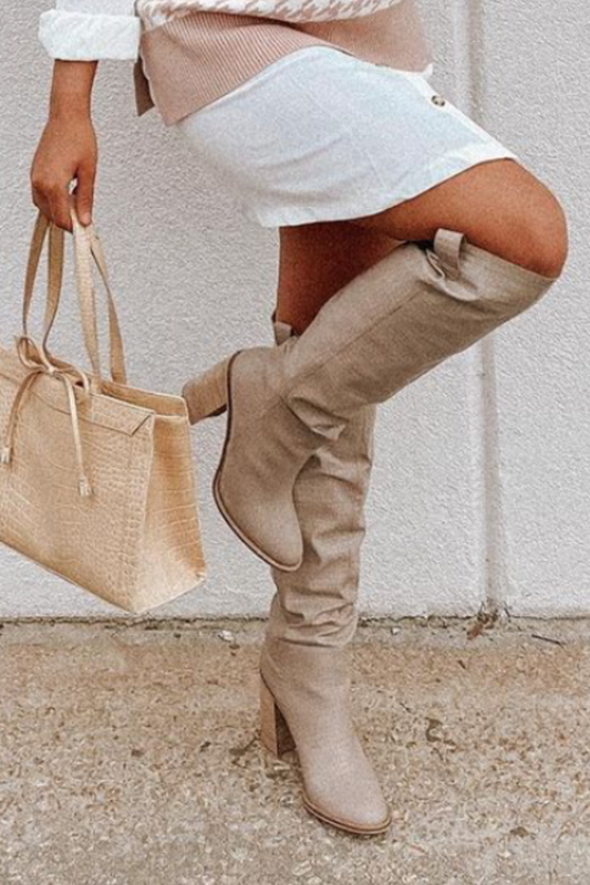 Noted Character Taupe Crocodile Knee High Boots