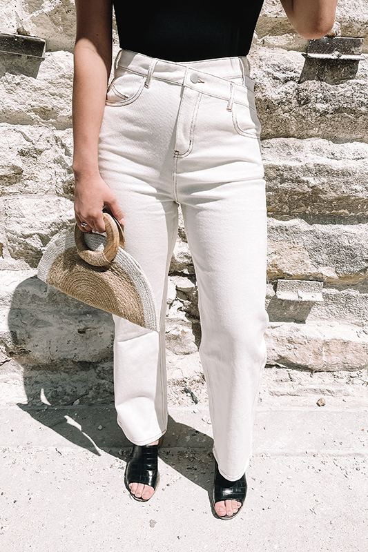 Asymmetrical Jean -White Denim