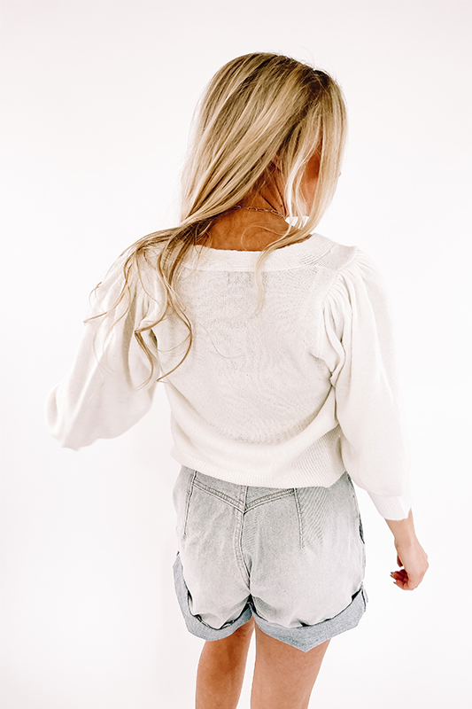 Lila Crop Sweater -Off White