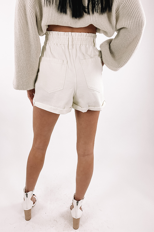 Cuffed Denim Shorts -Off White
