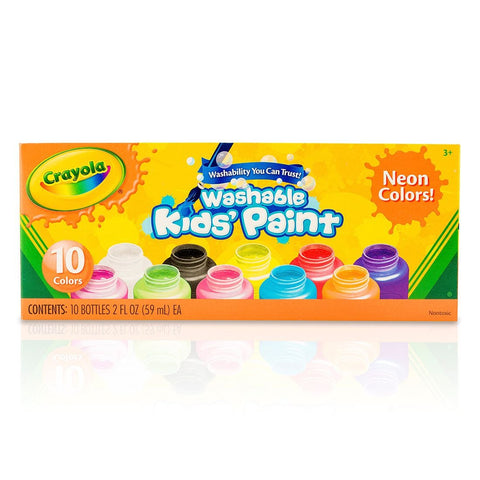 Crayola Washable Neon Kids' Paint (10x Colours)