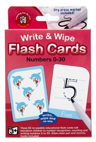 Numbers 0-30 Flash Cards - Write & Wipe w/ marker