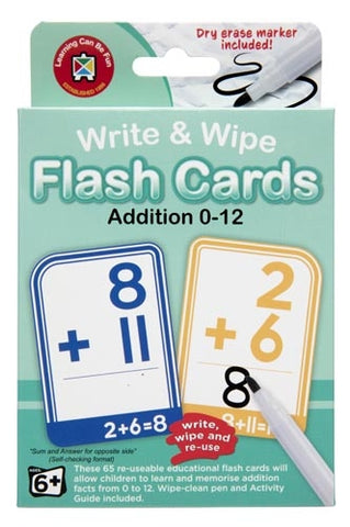 Addition Flash Cards - Write & Wipe w/marker