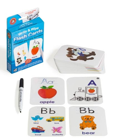 Alphabet & Early Numbers Flash Cards - Write & Wipe w/marker