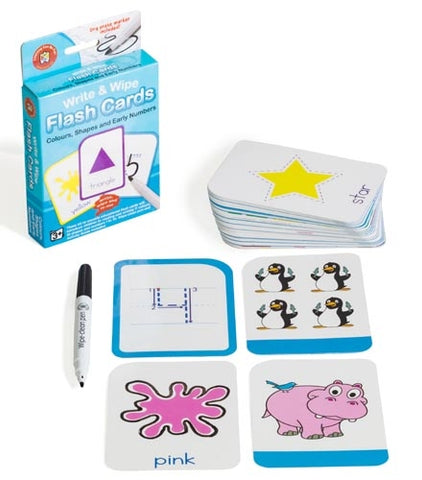 Colours, Shapes & Early Numbers Flash Cards - Write & Wipe w/marker