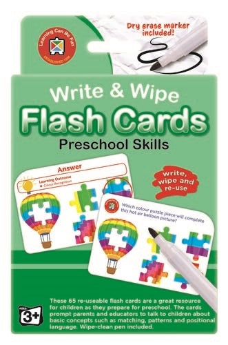Preschool Skills Flash Cards - Write & Wipe w/marker