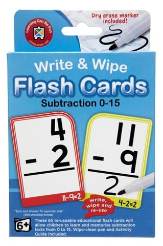 Subtraction Flash Cards - Write & Wipe w/marker