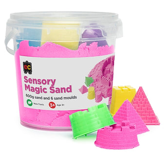 Sensory Magic Sand with Moulds 600g Tub Pink