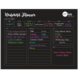 Magnetic Household Planner, meal plan, to do list, grocery list, bills section, liquid chalk friendly.