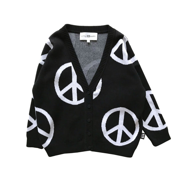 Little Man Happy PEACE Knit Cardigan