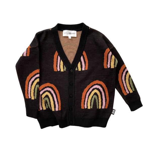 Little Man Happy RAINBOW Knit Cardigan