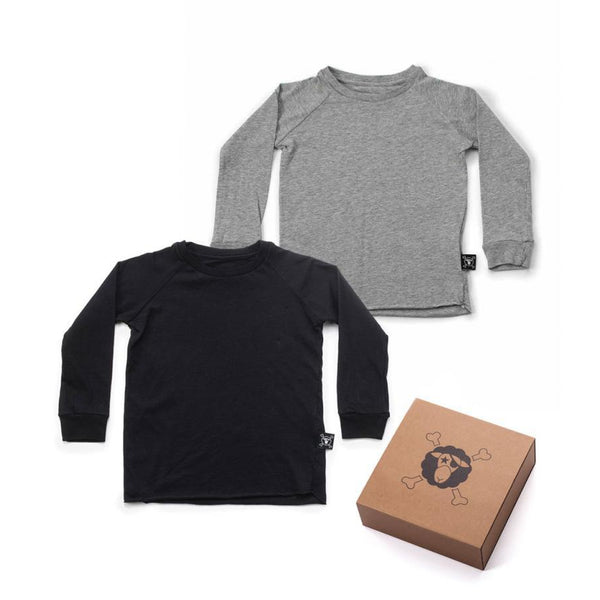 Nununu basic raglan shirt set