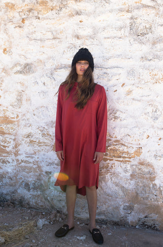 The Rib Neck Long Sleeve Tee Dress - Ruby Red
