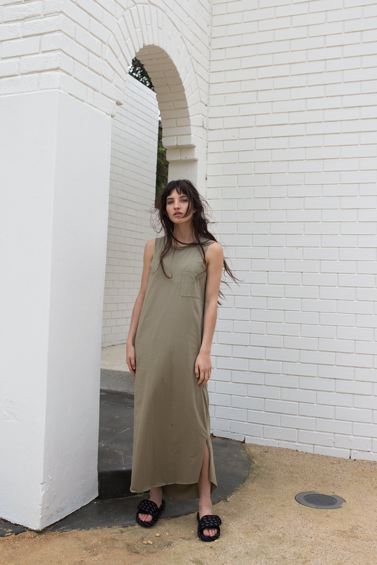 Rib Neck Maxi Tank Dress - Khaki / Black