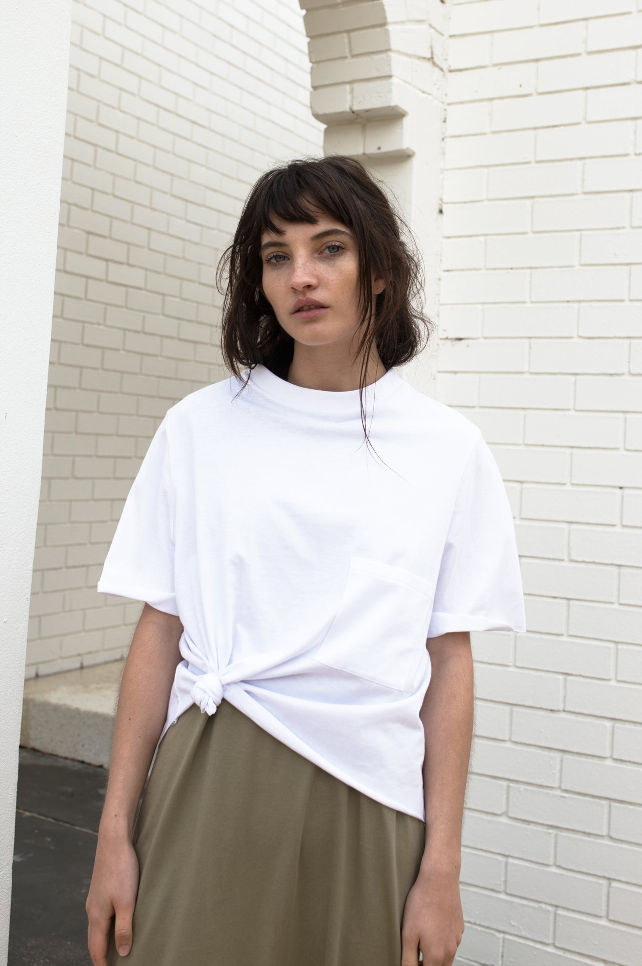 Rib Neck Oversized Pocket Tee - White / Black / Khaki / Navy