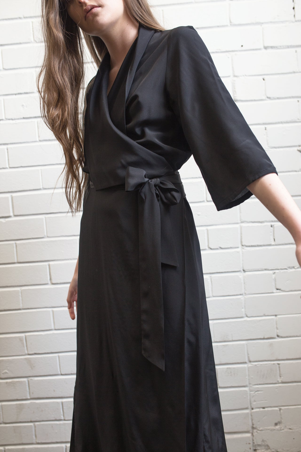 a38aeeac275 Long Wrap Drape Dress - Jet Black – Alexandra King