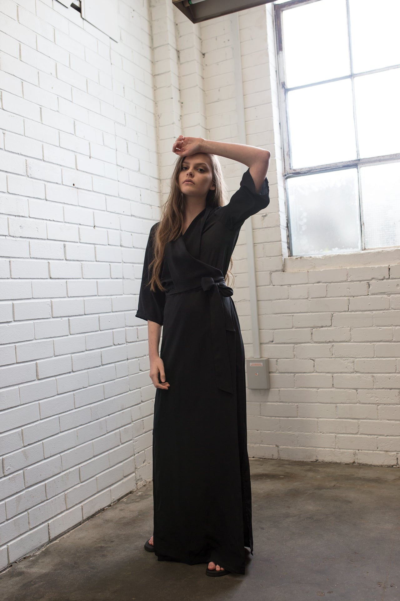 Long Wrap Drape Dress - Jet Black