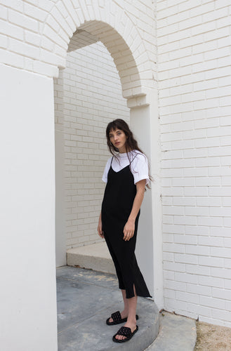 Bias Silk Slip Dress - Khaki / Black