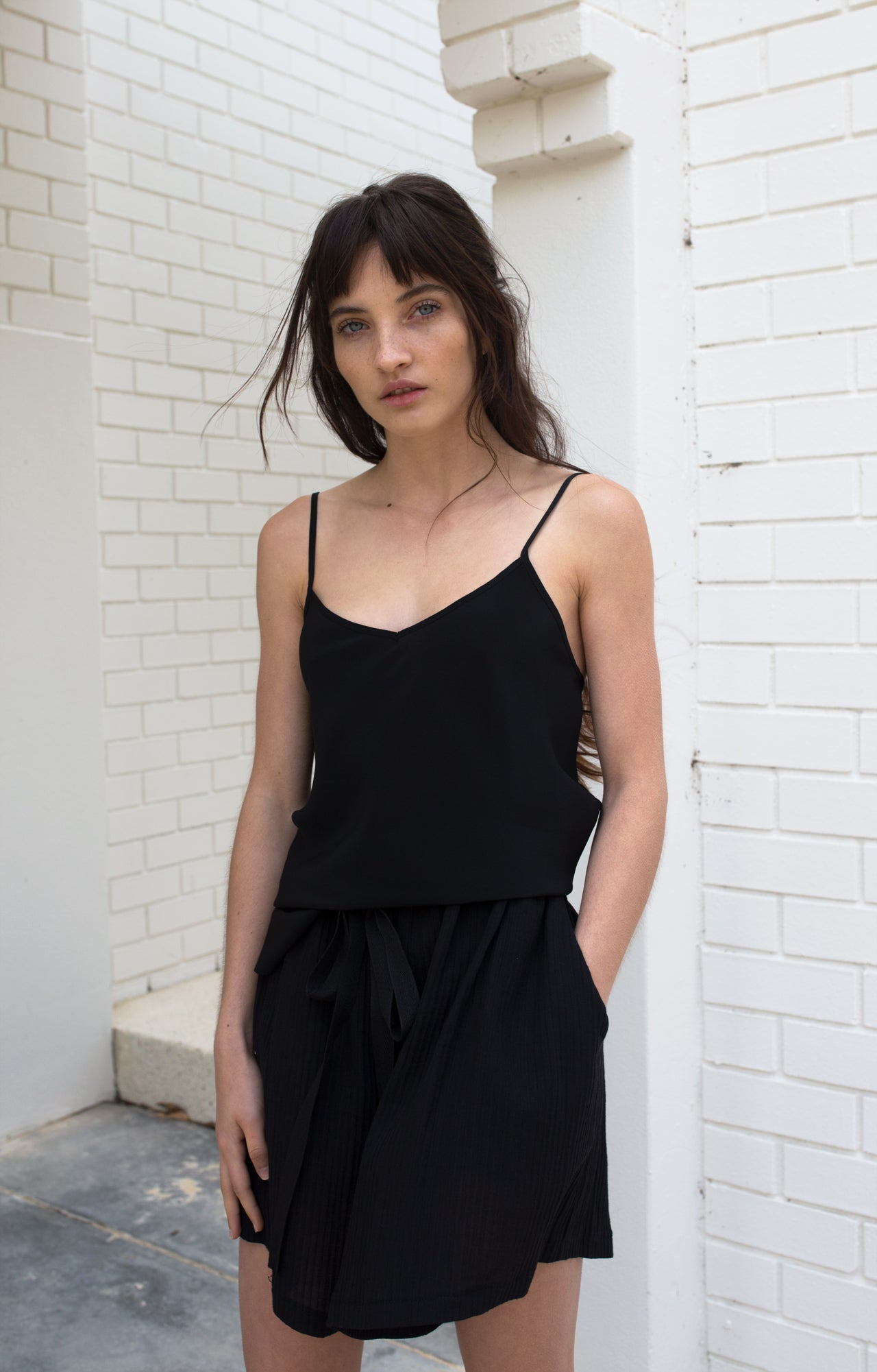 Bias Silk Camisole - Black / Khaki