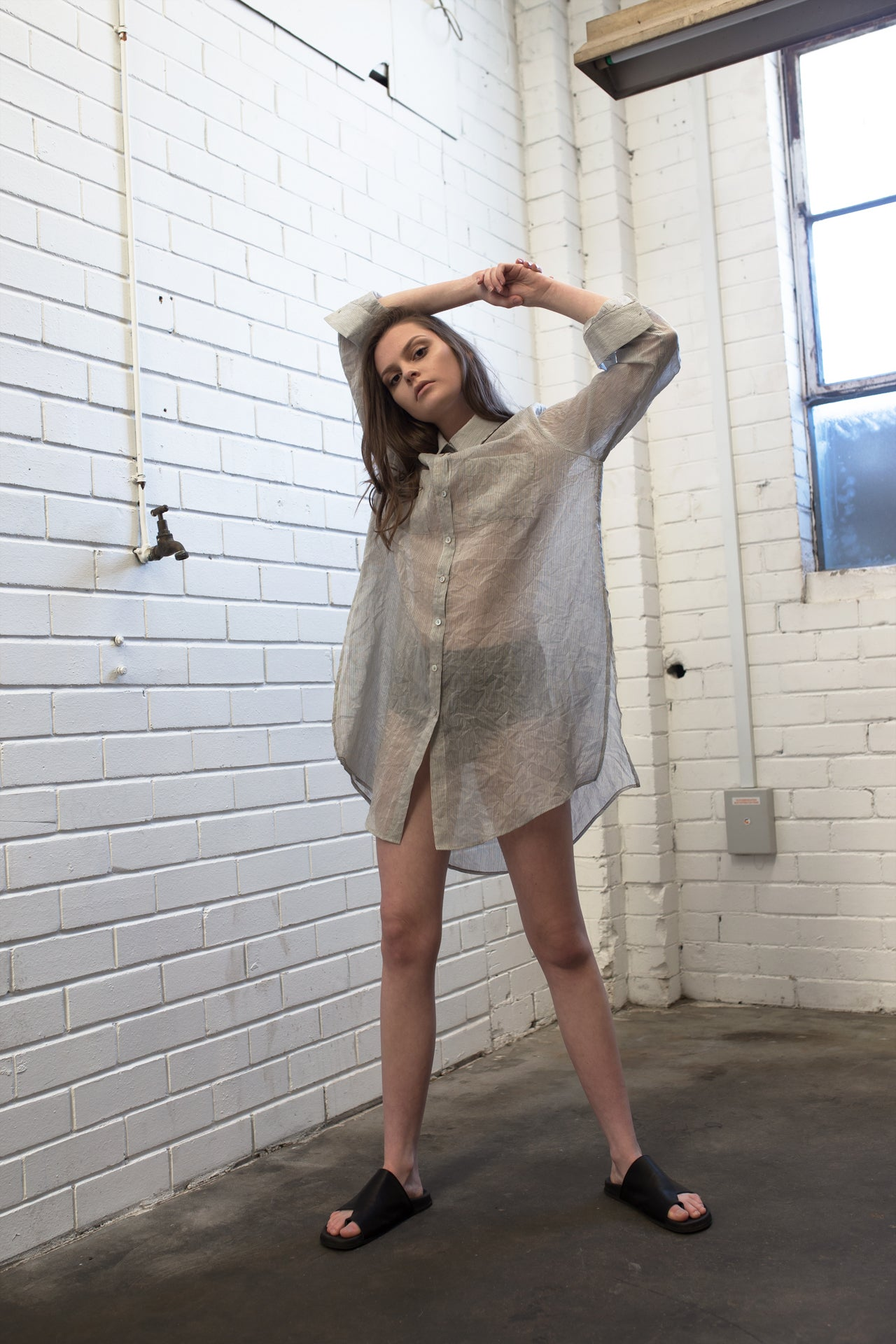 Oversized Silk Cotton Shirt - Stripe