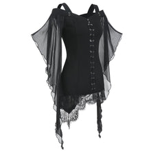 Gothic Criss Cross Lace Butterfly Sleeve Top