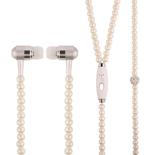 Rhinestone Pearl Necklace Earbuds