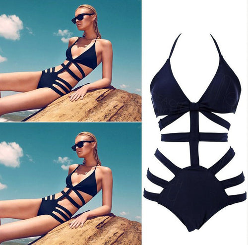 Sexy Bandage Strap Harness Swimsuit Black White Navy Blue