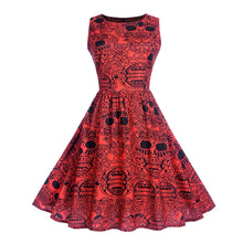 Red sugar skull retro dress